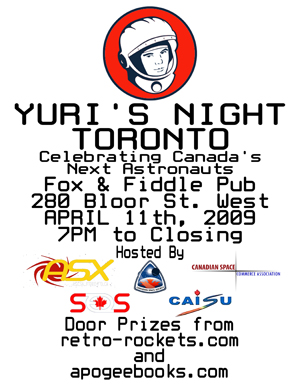 Yuri's Night Toronto, April 11th, 7PM to close, 280 Bloor St. West
